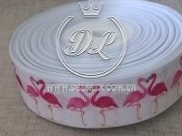 Репс 2.5 см, розовые Фламинго, на белом