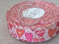 Репс 2.5 см Сердечка ,розово-оранжевые  на белом