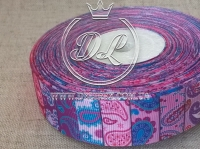 Репс 2.5 см Печворк  фиолетово-розовый