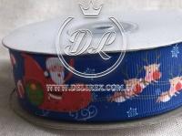 Репс 2.5 см Санта на санках, темно-синий
