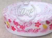 Репс 2.5 см , Love + Фламинго на белом  NEW
