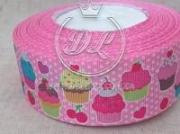 Репс 4 см Кексы розовые на белом