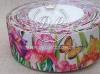 Репс 4 см Цветочки с бабочкой на белом