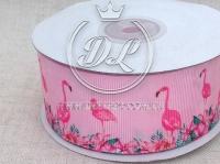 Репс 4 см Ярко-розовый фламинго на розовом
