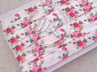 Бейка 1.5 см Розочки розовые на белом NEW