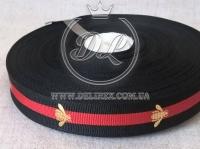Лента Gucci с пчелой 2.3 см, красно-черная