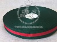 Лента Gucci  2.5 см, красно-зелёная