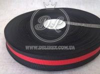 Лента Gucci  2.5 см, красно-черная