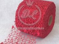 Сетка декоративная (новогодняя), красная